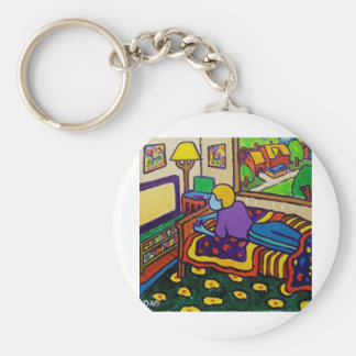 Boy with Toy Basic Round Button Key Ring