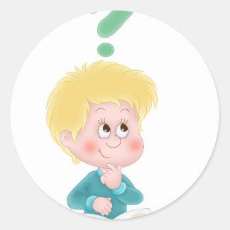 boy wondering round sticker