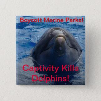 Boycott Marine Parks - Captivity Kills Dolphins! 15 Cm Square Badge