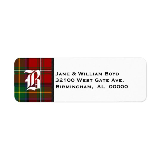 Boyd Tartan Plaid Monogram Address Labels