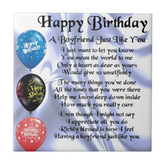 Boyfrien Poem -  Happy Birthday Small Square Tile