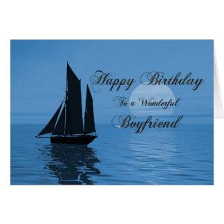 Boyfriend, a moonlight yacht birthday card