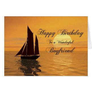 Boyfriend, a sunset yacht birthday card