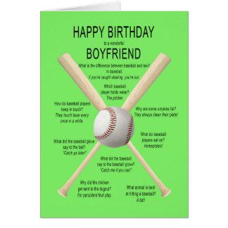 Boyfriend, birthday baseball jokes greeting card