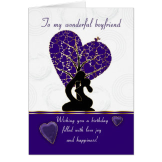 boyfriend birthday card modern design, purple and