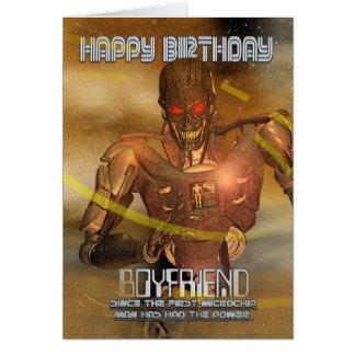 Boyfriend Birthday Card With Cyborg - Modern Robot