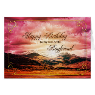 Boyfriend birthday, Sunset over the mountains Greeting Card