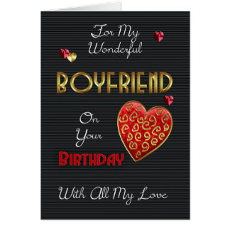 Boyfriend, Birthday With Gold Effect And Hearts Greeting Card