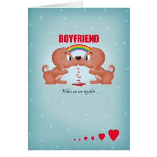 Boyfriend Gay Male Valentine's Day Kissing Dogs An Card