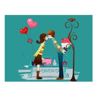 Boyfriend & Girlfriend Kissing Valentines Day Postcard
