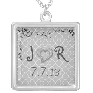 Boyfriend Girlfriend Love Heart Floral Initial Silver Plated Necklace