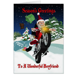 Boyfriend Motorcycle Santa With Flying Gifts Card