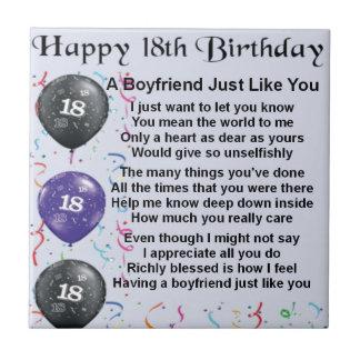 Boyfriend Poem - 18th Birthday Small Square Tile