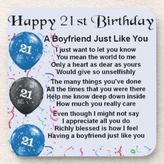 Boyfriend Poem - 21st Birthday Coaster
