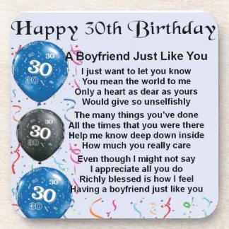 Boyfriend poem 30th Birthday Beverage Coaster