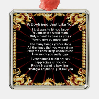 Boyfriend poem - Black design Metal Ornament