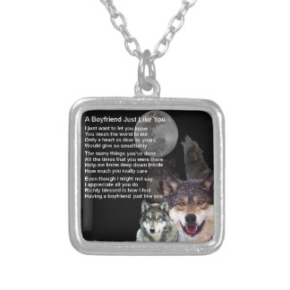 Boyfriend Poem  -  Wolf Design Silver Plated Necklace