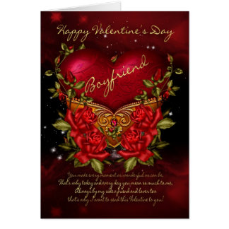 Boyfriend, Valentine's Day Card With Heart And Ros