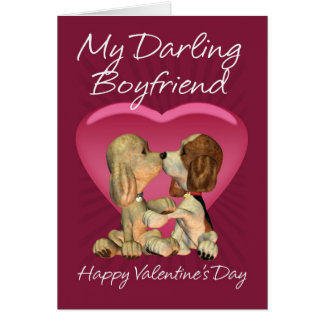 Boyfriend Valentine's Day Card With Two Kissing Pu