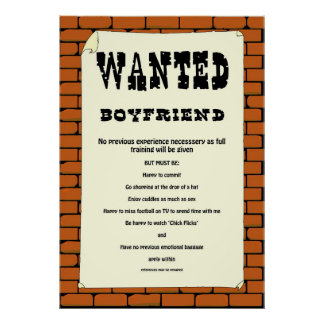 """""""Boyfriend Wanted"""" Poster. Poster"""