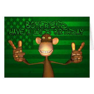 Boyfriend Wild Birthday Stars And Stripes, Green Greeting Card