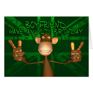 Boyfriend Wild Birthday Union Jack, Green Greeting Card