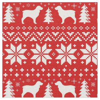 Boykin Spaniel Silhouettes Christmas Pattern Red Fabric