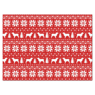 Boykin Spaniel Silhouettes Christmas Pattern Red Tissue Paper