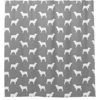 Boykin Spaniel Silhouettes Pattern Grey Shower Curtain