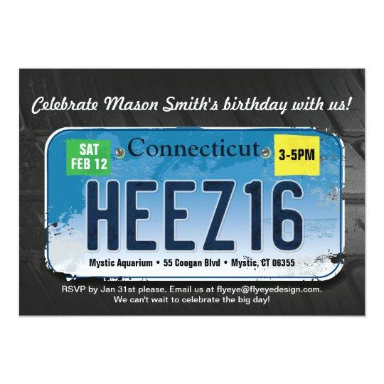 Boy's 16th Birthday Connecticut License Invitation