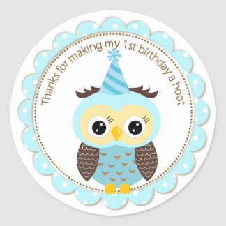 Boys 1st Birthday Blue Owl Thank You Round Sticker