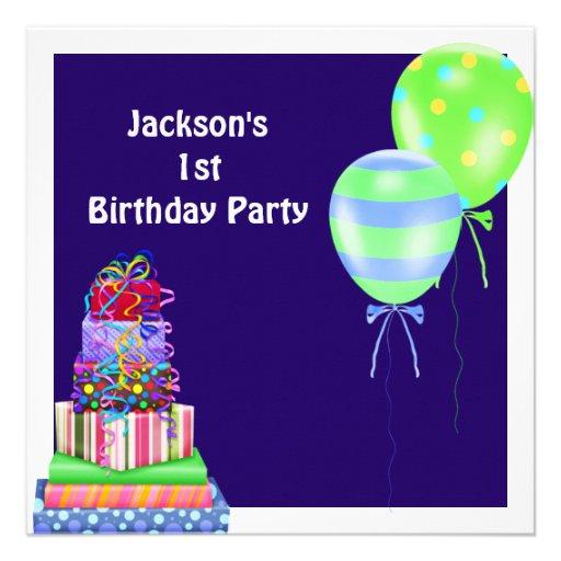 Boys 1st Birthday Cake Balloons Presents Navy Announcements  Zazzle