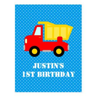Boys 1st Birthday construction dumptruck postcards
