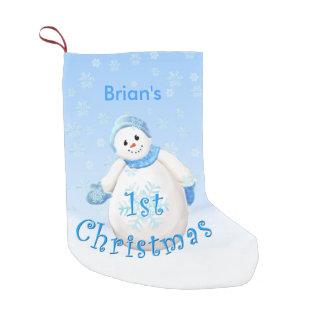 Boy's 1st Christmas Snowman Custom Name Small Christmas Stocking