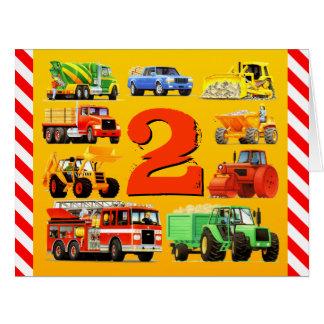 Boys 2nd Birthday Custom Construction Trucks Big Greeting Card