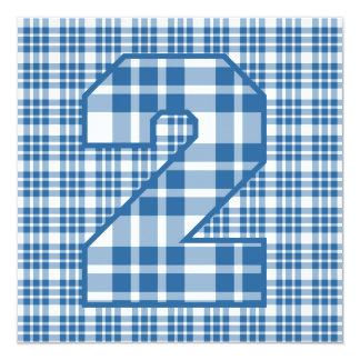 "Boy's 2nd Birthday Custom Name Modern Plaid V06A 5.25"" Square Invitation Card"