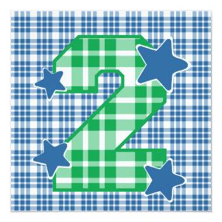 "Boy's 2nd Birthday Custom Name Modern Plaid V06C3 5.25"" Square Invitation Card"