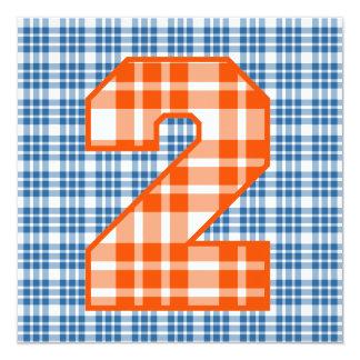 "Boy's 2nd Birthday Custom Name Modern Plaid V06C 5.25"" Square Invitation Card"
