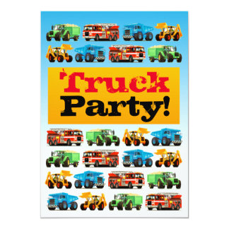 Boys 3rd Birthday Construction Truck Party 13 Cm X 18 Cm Invitation Card