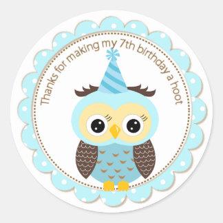 Boys 7th Birthday Blue Owl Thank You Round Sticker