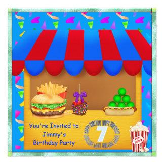 Boys 7th Colorful Birthday Party Invitation