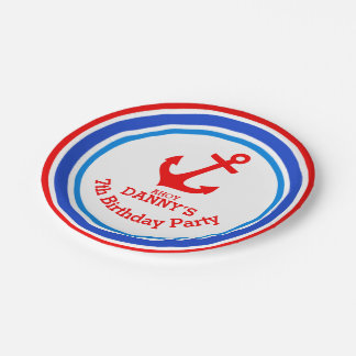 Boys anchor 7th birthday customized plate 7 inch paper plate