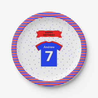 Boys and girls custom name 7th birthday 7 inch paper plate