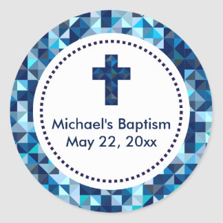 Boy's Baptism First Communion Confirmation Favors Round Sticker