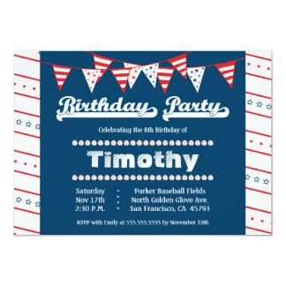 "Boys baseball theme birthday party invitation 5"" x 7"" invitation card"