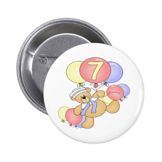 Boys Bear 7th Birthday Gifts 6 Cm Round Badge