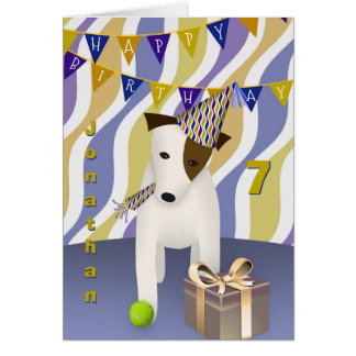 boy's birthday dog wearing party hat card