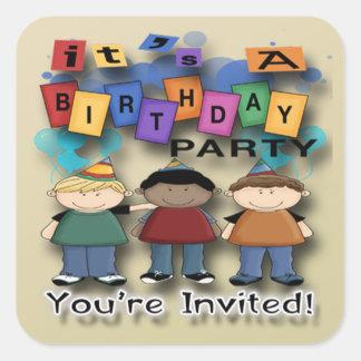Boy's Birthday Party Invitation envelope seal Square Sticker