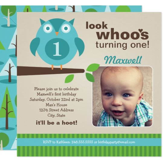 Boy's Birthday Party Photo Invitation   Owl Theme