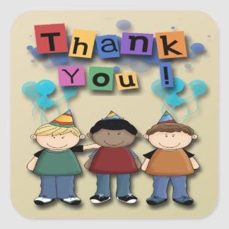 Boy's Birthday Party Thank You envelope seal Square Sticker